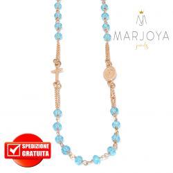 Rosario in argento 925 rosè collana girocollo con swarovski azzurri