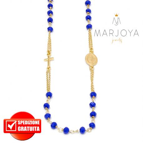 Rosario in argento 925 dorato collana girocollo con swarovski blu