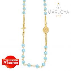 Rosario in argento 925 dorato,collana girocollo con swarovski celeste pastello boreale