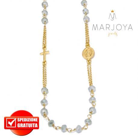 Rosario in argento 925 dorato,collana girocollo con swarovski grigio boreale