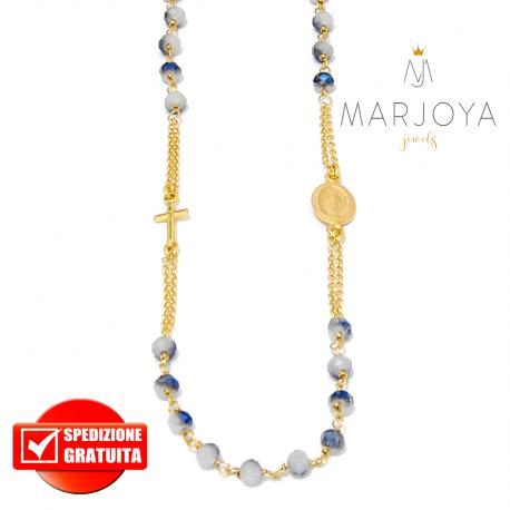 Rosario in argento 925 dorato,collana girocollo con swarovski grigi con riflessi blu