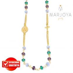 Rosario in argento 925 dorato,collana girocollo,multicolor con swarovski lilla,verdi e viola