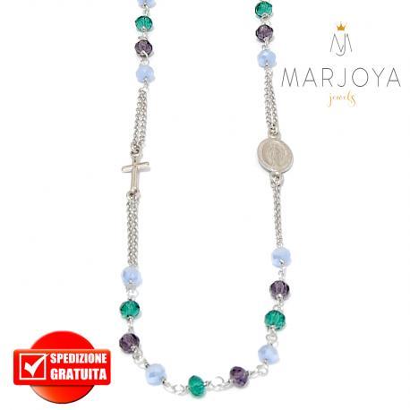 Rosario in argento 925,collana girocollo,multicolor con swarovski lilla,verdi e viola