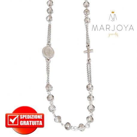 Rosario in argento 925,collana girocollo con swarovski nero fumè
