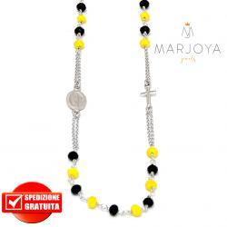 Rosario in argento 925,collana girocollo,multicolor con swarovski neri e gialli