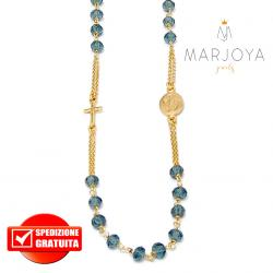 Rosario in argento 925 dorato collana girocollo con swarovski verde petrolio