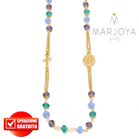 Rosario in argento 925 dorato,collana girocollo,multicolor con swarovski viola,verdi e lilla