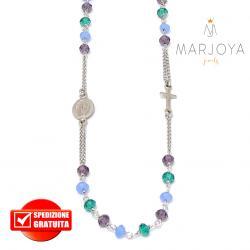 Rosario in argento 925,collana girocollo,multicolor con swarovski viola,verdi e lilla