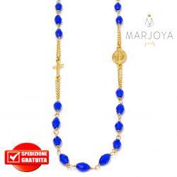 Rosario in argento 925 dorato,collana girocollo con barilotti swarovski blu