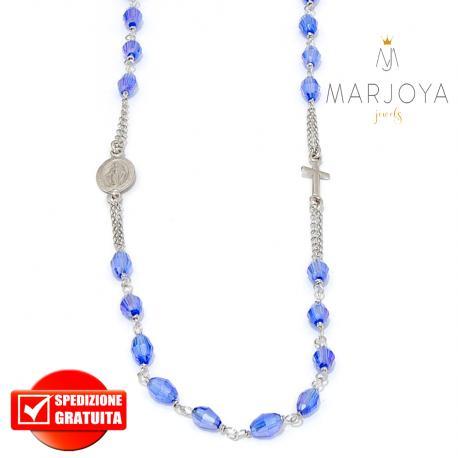 Rosario in argento 925,collana girocollo con barilotti swarovski blu elettrico boreale