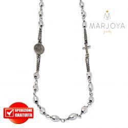 Rosario in argento 925 brunito,collana girocollo con barilotti swarovski grigio argento