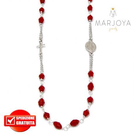 Rosario in argento 925,collana girocollo con barilotti swarovski rosso pompeiano boreale