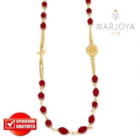 Rosario in argento 925 dorato,collana girocollo con barilotti swarovski rosso pompeiano boreale