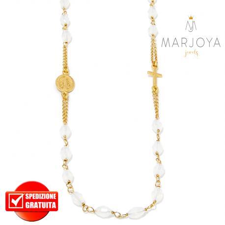 Rosario in argento 925 dorato,collana girocollo con barilotti swarovski bianco fumè