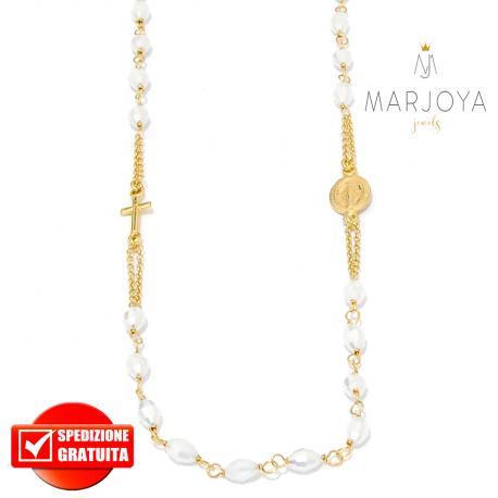 Rosario in argento 925 dorato,collana girocollo con barilotti swarovski bianco latte boreale