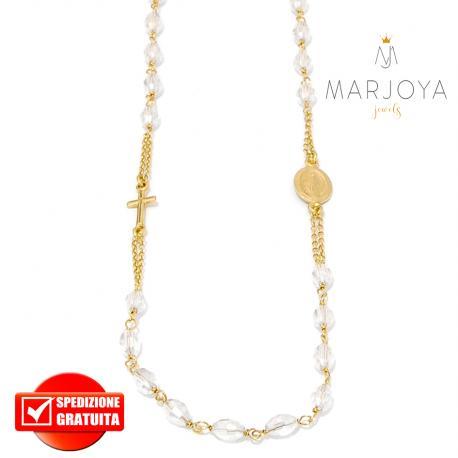 Rosario in argento 925 dorato,collana girocollo con barilotti swarovski bianco trasparente boreale