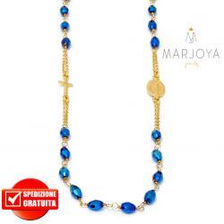Rosario in argento 925 dorato,collana girocollo con barilotti swarovski blu metallizzato boreale