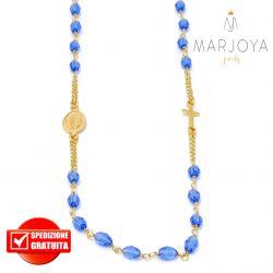 Rosario in argento 925 dorato,collana girocollo con barilotti swarovski blu oceano