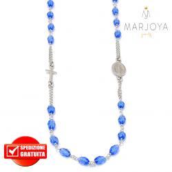 Rosario in argento 925,collana girocollo con barilotti swarovski blu oceano