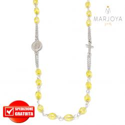 Rosario in argento 925,collana girocollo con barilotti swarovski giallo boreale
