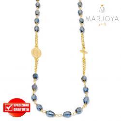 Rosario in argento 925 dorato,collana girocollo con barilotti swarovski grigio bluastro
