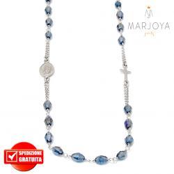 Rosario in argento 925,collana girocollo con barilotti swarovski grigio bluastro