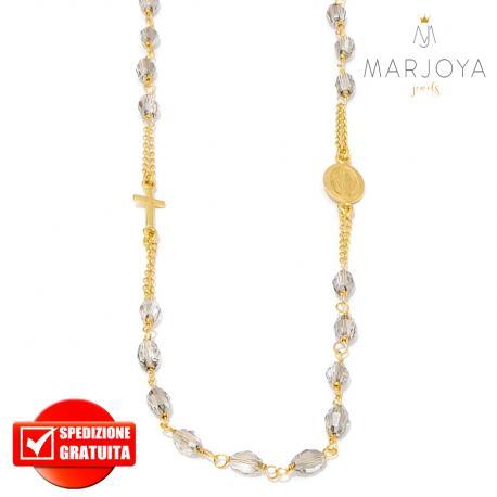 Rosario in argento 925 dorato,collana girocollo con barilotti swarovski grigio fumè