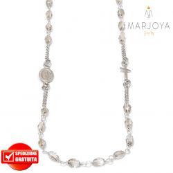 Rosario in argento 925,collana girocollo con barilotti swarovski grigio fumè