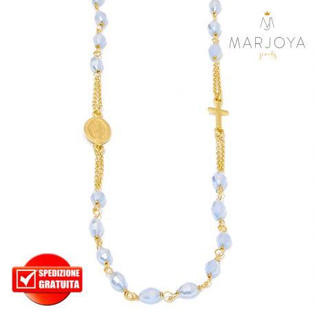 Rosario in argento 925 dorato,collana girocollo con barilotti swarovski lilla boreale