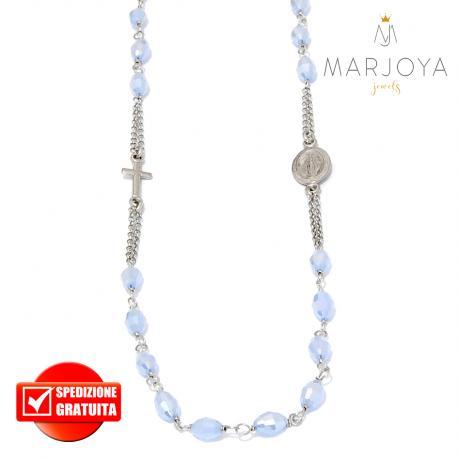 Rosario in argento 925,collana girocollo con barilotti swarovski lilla boreale