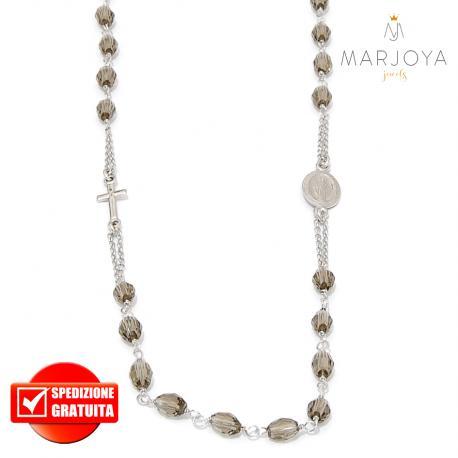 Rosario in argento 925 collana girocollo con barilotti swarovski nero fumè