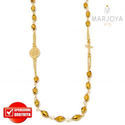 Rosario in argento 925 dorato,collana girocollo con barilotti swarovski oro
