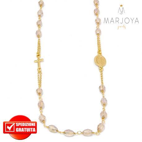 Rosario in argento 925 dorato,collana girocollo con barilotti swarovski rosa pesca boreale