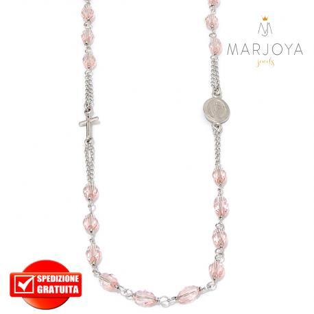 Rosario in argento 925,collana girocollo con barilotti swarovski rosa pesca boreale