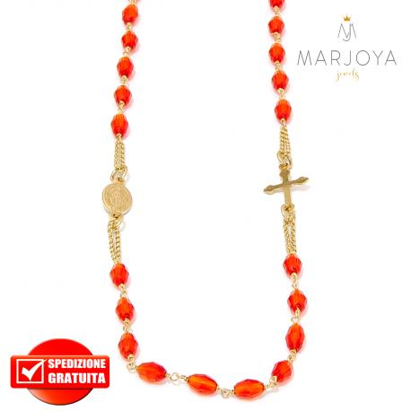 Rosario in argento 925 dorato,collana girocollo con barilotti swarovski rossi