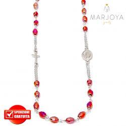 Rosario in argento 925,collana girocollo con barilotti swarovski rosso rubino boreale