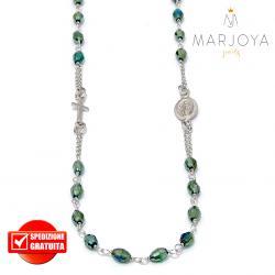 Rosario in argento 925,collana girocollo con barilotti swarovski verde boreale