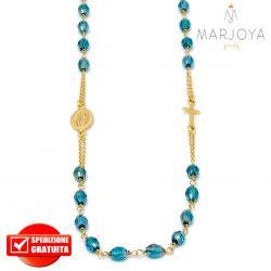 Rosario in argento 925 dorato,collana girocollo con barilotti swarovski verde petrolio boreale