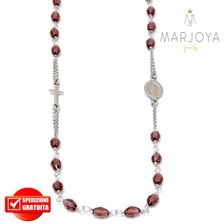 Rosario in argento 925,collana girocollo con barilotti swarovski vinaccio
