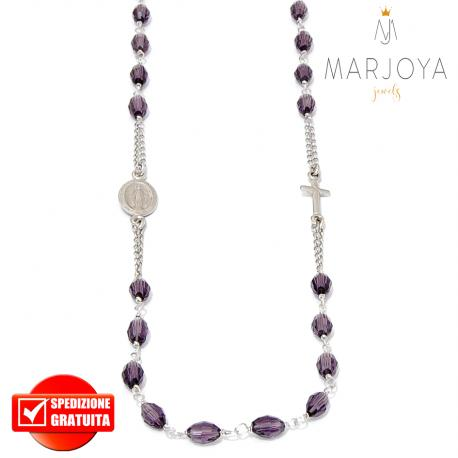 Rosario in argento 925,collana girocollo con barilotti swarovski viola