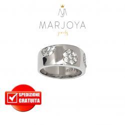 Anello a fascia in argento 925 rodiato con zirconi bianchi,pois