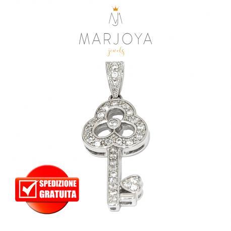 Chiave pendente in argento 925 con zirconi bianchi