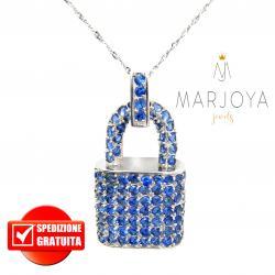 Collana con catenaccio pendente in argento 925 e zirconi blu