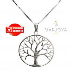 Collana con albero della vita grande in argento 925,lunga 80 cm