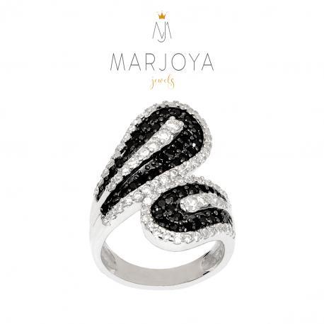 Anello contrariè con zirconi bianchi e neri in argento 925 rodiato