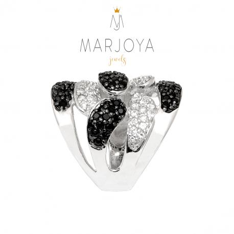 Anello contrariè a fascia con petali di zirconi bianchi e neri in argento 925 rodiato