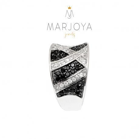 Anello a fascia con incrocio di zirconi bianchi e neri in argento 925 rodiato