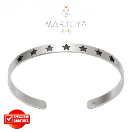 Bracciale rigido a fascia con stelle in argento 925 satinato,regolabile