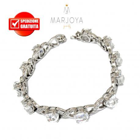 Bracciale tennis con zirconi bianchi in argento 925 rodiato