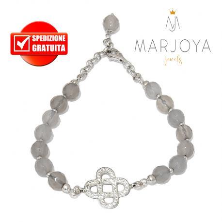 Bracciale con croce,zirconi bianchi,quarzo grigio fumè e argento 925